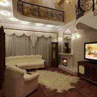 идея светлого стиля гостиной в частном доме фото