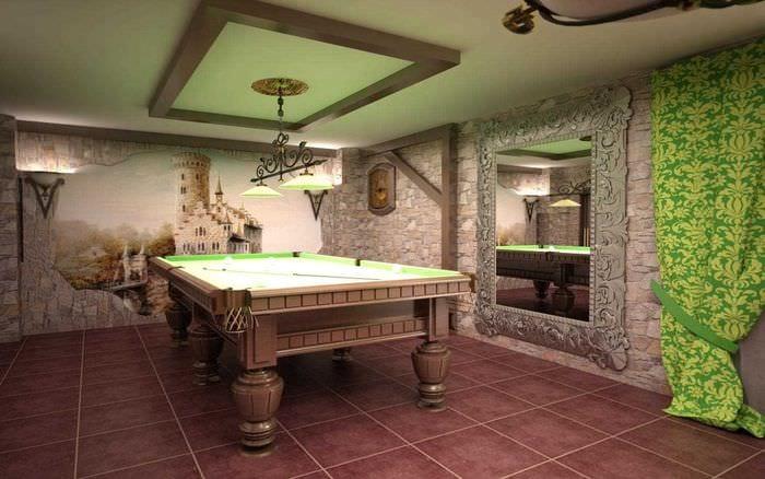 вариант светлого дизайна бильярдной комнаты
