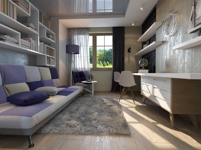 вариант необычного интерьера спальной комнаты для молодого человека