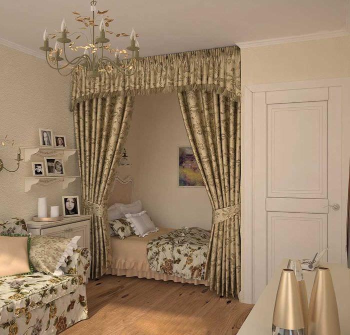 вариант яркого дизайна спальни гостиной 20 кв.м.