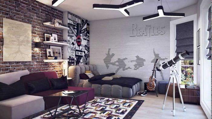 идея красивого декора спальни для молодого человека