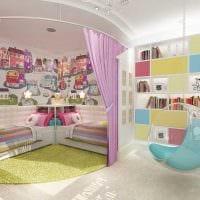 вариант красивого интерьера детской комнаты для двоих детей картинка