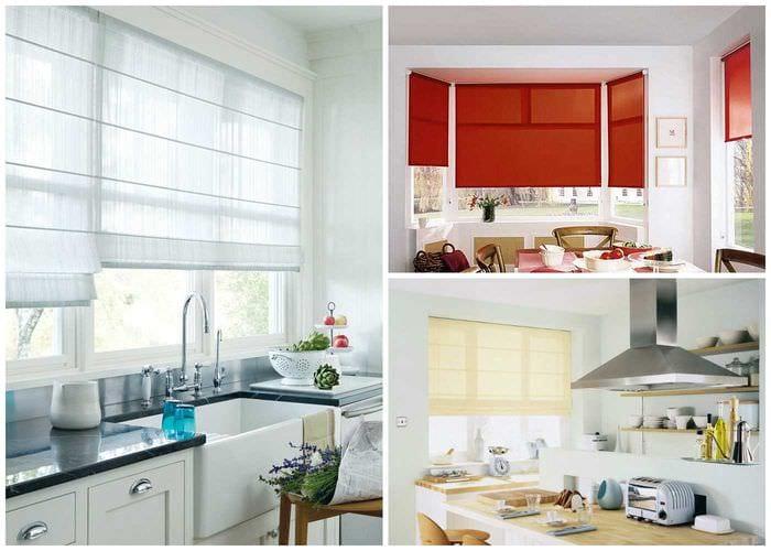 идея необычного дизайна кухни с римскими шторами