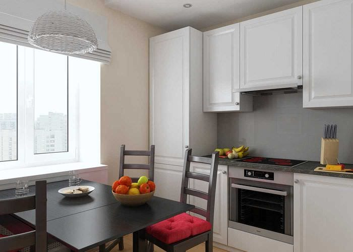 идея светлого дизайна кухни 8 кв.м
