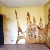 вариант светлого интерьера квартиры с росписью стен картинка