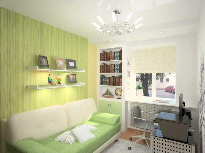 идея яркого дизайна маленькой комнаты в общежитии