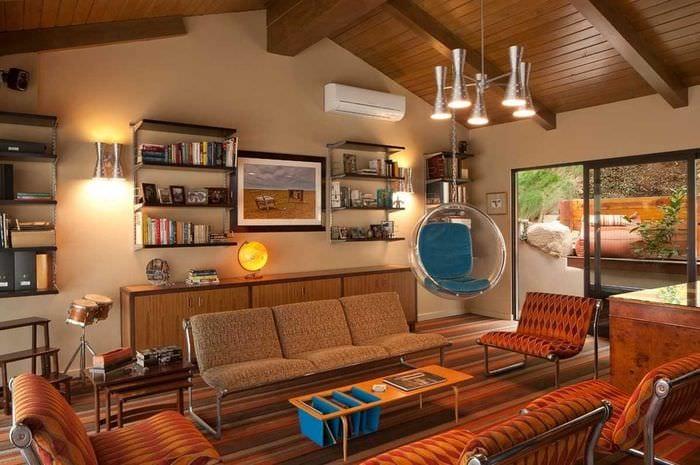 вариант использования необычного декора комнаты в стиле ретро