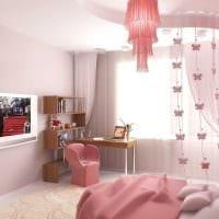 пример применения розового цвета в светлом интерьере комнате фото