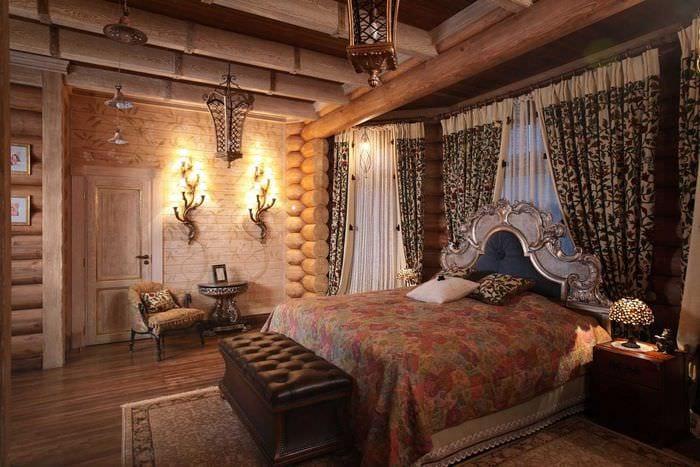 пример применения русского стиля в красивом интерьере квартире