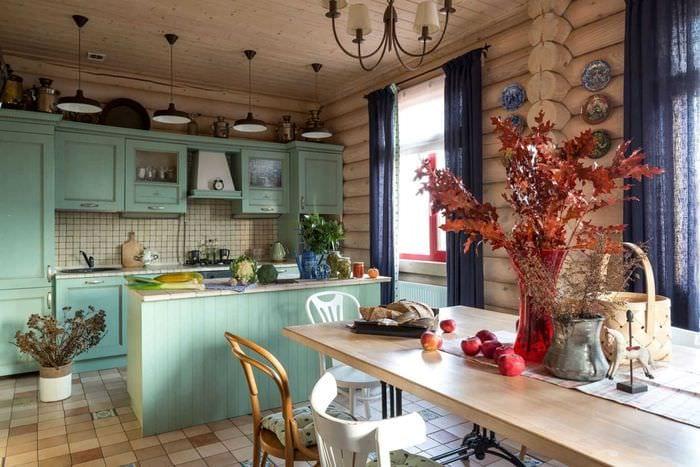 идея применения русского стиля в необычном дизайне комнате