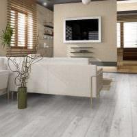 идея применения светлого ламината в ярком интерьере дома фото