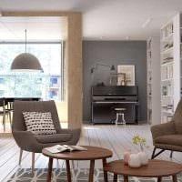 идея использования красивого дизайна комнаты в стиле ретро картинка