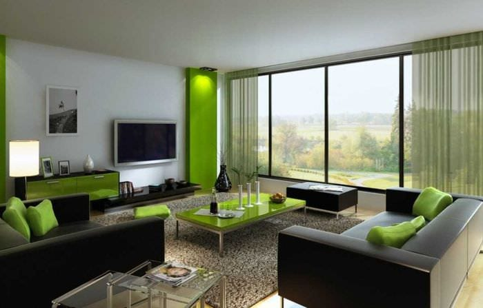 пример использования зеленого цвета в ярком дизайне квартиры