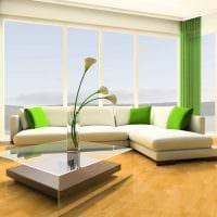 вариант использования зеленого цвета в необычном интерьере комнаты картинка