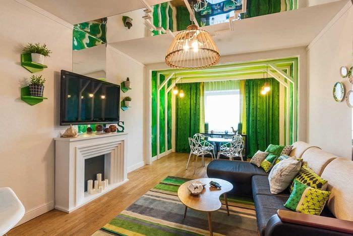 идея применения зеленого цвета в красивом дизайне комнаты