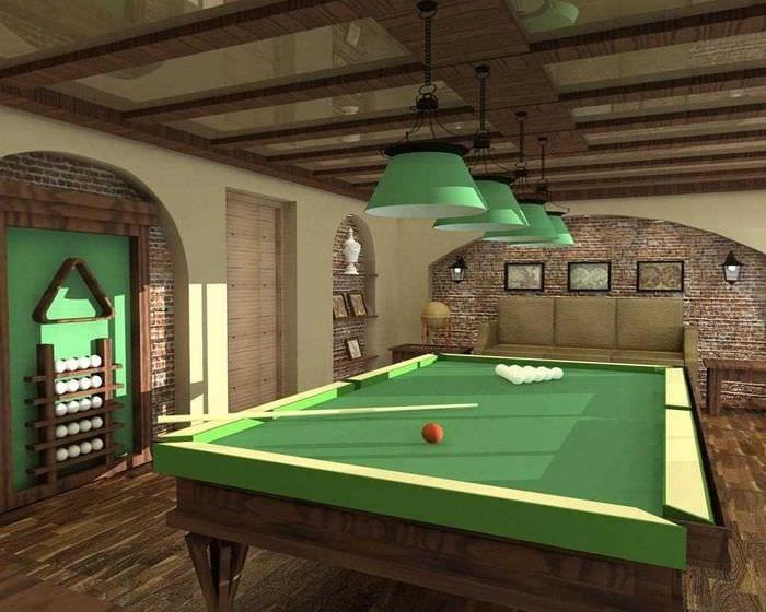 идея необычного интерьера бильярдной комнаты