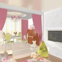 идея светлого стиля детской комнаты для девочки 12 кв.м картинка