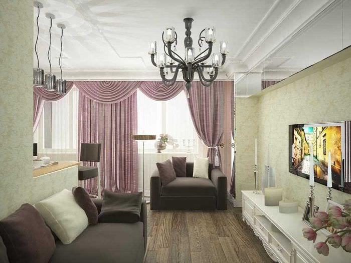 пример яркого стиля двухкомнатной квартиры