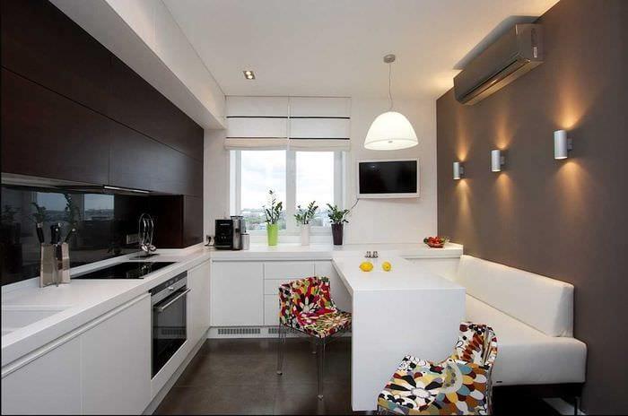 идея необычного дизайна кухни 14 кв.м