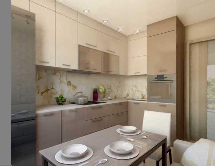 пример необычного интерьера кухни 9 кв.м