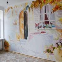 идея светлого интерьера квартиры с росписью стен фото
