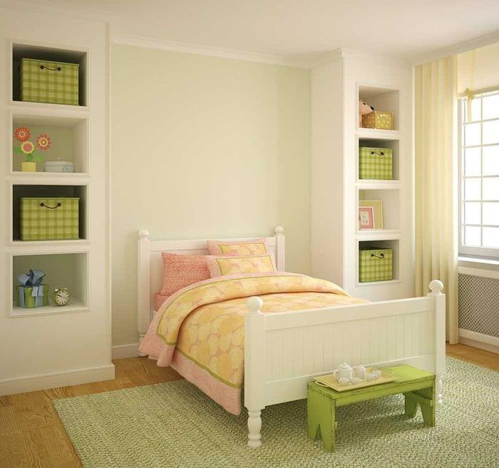 идея светлого декора комнаты для девочки 12 кв.м