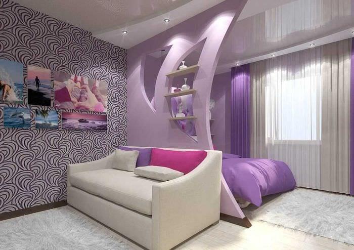 идея красивого декора спальни гостиной 20 кв.м.