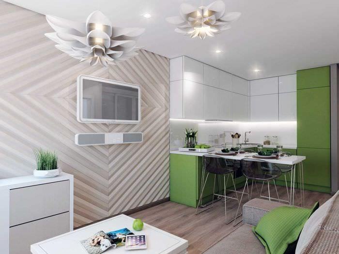 вариант красивого интерьера кухни 14 кв.м