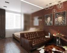 вариант яркого интерьера малогабаритной комнаты фото