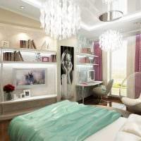 вариант светлого дизайна спальни для девочки в современном стиле фото