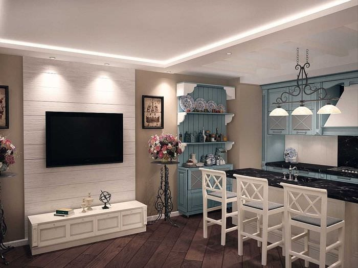 вариант яркого стиля кухни 14 кв.м