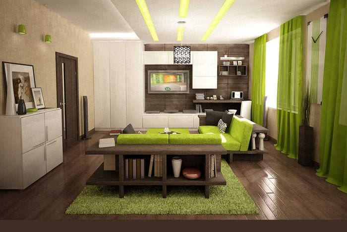 вариант яркого сочетания цвета в интерьере современной квартиры