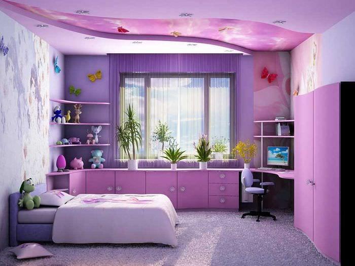 вариант красивого интерьера детской комнаты для девочки 12 кв.м