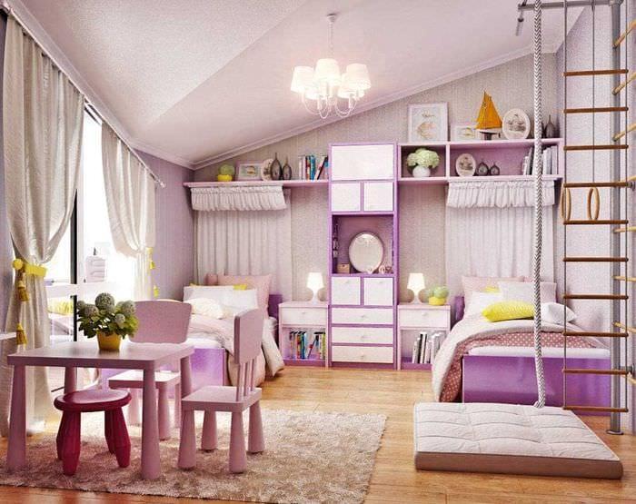 идея необычного дизайна детской комнаты для двоих девочек