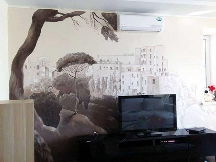 вариант красивого декора квартиры с росписью стен