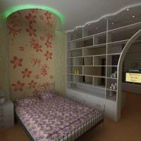 идея яркого декора гостиной комнаты 18 кв.м. фото