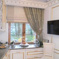 вариант необычного декора спальни с римскими шторами картинка