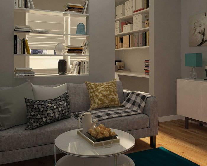 идея светлого стиля спальной комнаты 18 кв.м.