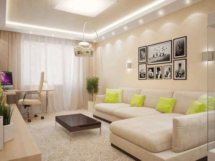 идея яркого декора гостиной комнаты 18 кв.м.