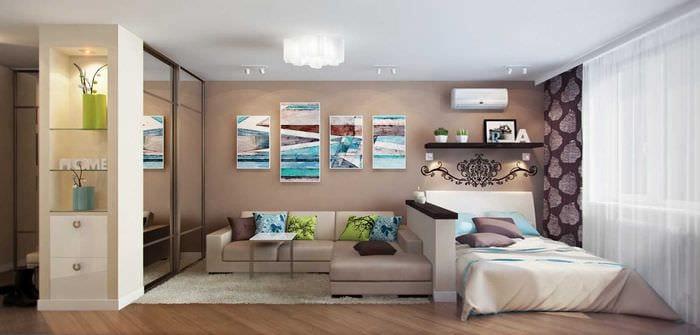 идея необычного интерьера спальни гостиной 20 кв.м.