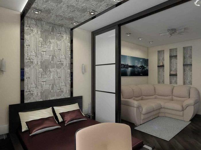 вариант необычного интерьера гостиной спальни