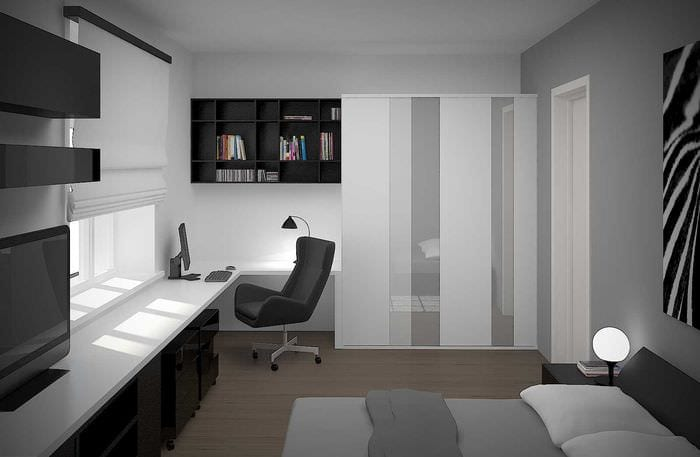 идея светлого стиля спальной комнаты для молодого человека