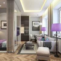 вариант красивого дизайна гостиной спальни 20 кв.м. фото