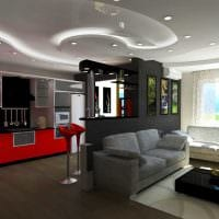 вариант необычного интерьера спальни гостиной 20 кв.м. фото