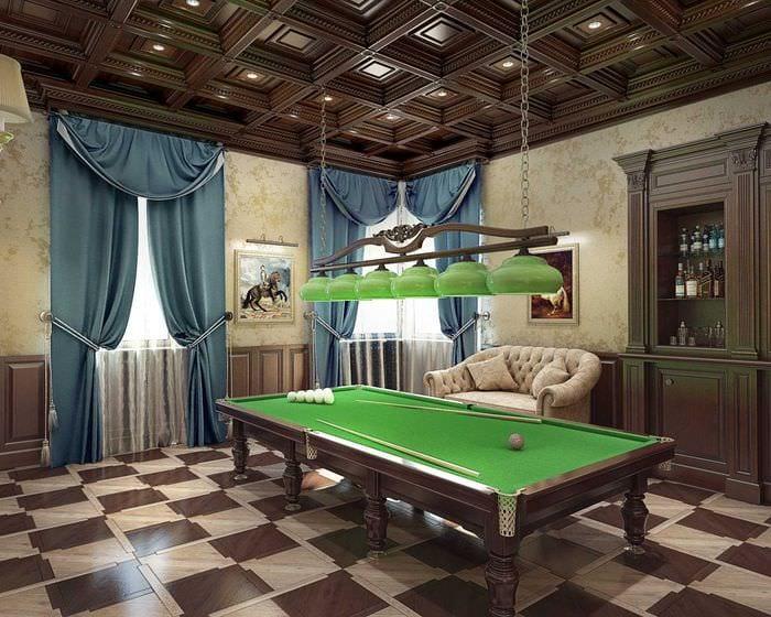 идея красивого дизайна бильярдной комнаты