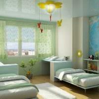 идея необычного интерьера детской комнаты для двоих детей фото