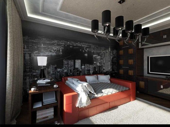 идея яркого интерьера спальной комнаты для молодого человека