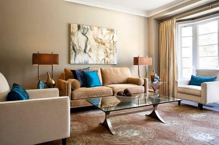 идея необычного сочетания бежевого цвета в дизайне комнаты