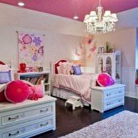 идея красивого декора детской комнаты для двоих девочек фото