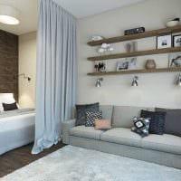 идея светлого декора гостиной спальни 20 кв.м. картинка